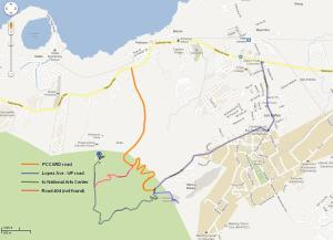 the backdoor route I used is the one highlighted in ORANGE. That's about 3kms