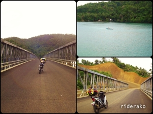 This bridge is located 14 kms from Sto. Domingo. In the map above, it is where the blue route meets the yellow.