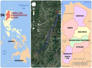 The Cordillera Administrative Region is made up of the provinces of Abra, Apayao, Benguet, Ifugao, Kalinga, Mountain Province and Baguio City.