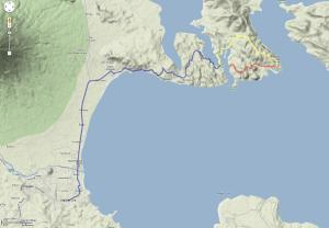 Misibis is 37kms away from Legazpi (blue+yellow route) Sula is 5kms away from Misibis. (red route)