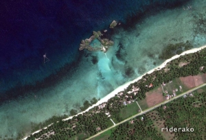 a satellite view of the island and the beach.