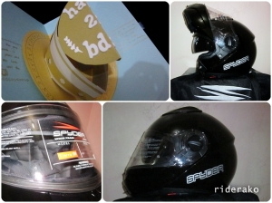 a personalized pop-up birthday card and a Spyder Sierra Dual Visor modular helmet from my girlfriend <3