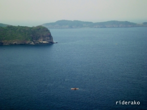 A lonely fisherman out in the sea. Just over that ridge is the Ternate Marine Base. Carabao Island is in the background too.
