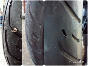 The tubeless tire can handle being pierced by small objects like the first 2 pics but as it wears out it gets more vulnerable.