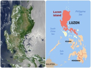Red highlight is the island of Luzon. Luzon in its entirety also includes Batanes group of islands in the North and MIMAROPA including Masbate and Catanduanes of Bicol