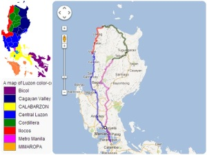 A color-coded map of the administrative regions of Luzon.