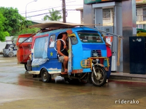 """Calbayog """"tricycle's"""" trademark has got to be those small wheels. It has 4 wheels in total."""