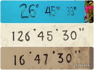 Top picture is the longitude coordinates painted on the replica. Pictures below it are from the original. Notice the consistency with the numbers 6 and 0