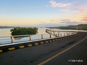 The bridge rests on Kabalawan Island and there is also an islet nearby