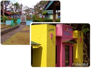The town plaza and the colorful Tourism Office. They have mini sundials on sale :)