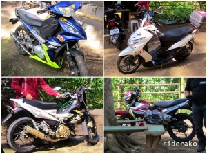 The Big 4: Yamaha Sniper, Yamaha Soul, Suzuki Skydrive, Suzuki Raider, Kawasaki Fury, and my Honda Wave