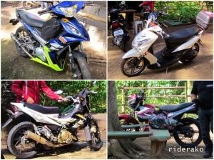 The Big 4: Yamaha Sniper, Yamaha Soul, Suzuki Skydrive, Suzuki Raider, Kawasaki Fury, and my Honda Wave