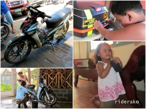 Maintenance/Repair, done. Bike wash, done. Uncle duties, never ending! :)