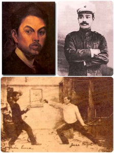 Juan Luna (L), Antonio Luna (R), and Juan Luna and Rizal practicing fencing. Images from Wikipedia and Lopezsummit.com