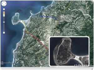 I thought, the blue route in Magsingal leads to island. In fact, the access road is in Sto. Domingo (red route highlight)