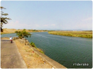 A view of Laoag River with the skyline of Laoag City in the background 7 kms away.