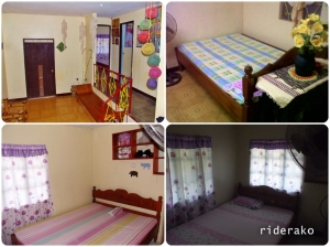 It has one bed in the living room; two bedrooms with a single bed and an electric fan in each.