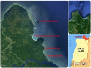 The location map of the tourist spots in this part of Pagudpud, Ilocos Norte