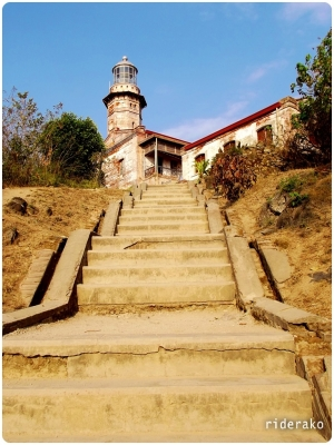 A short staircase leading up to the light station.