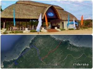 A map showing the Cape Bojeador to the tourist center (top photo) highlighted by blue line, then the additional drive using the access road (red highlight).
