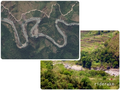 An aerial view of the winding Chico.